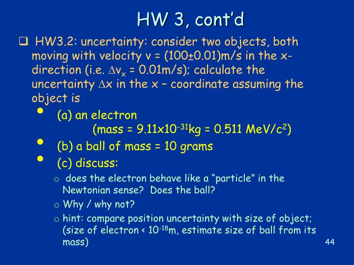 HW 3, cont'd