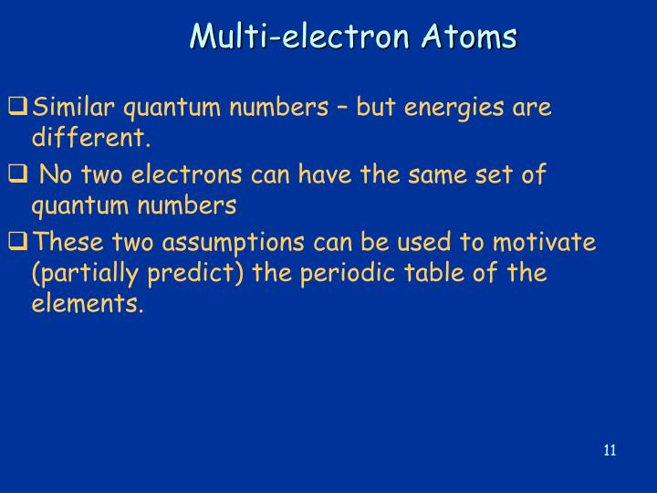 Multi-electron Atoms