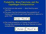 probability wave functions and the copenhagen interpretation