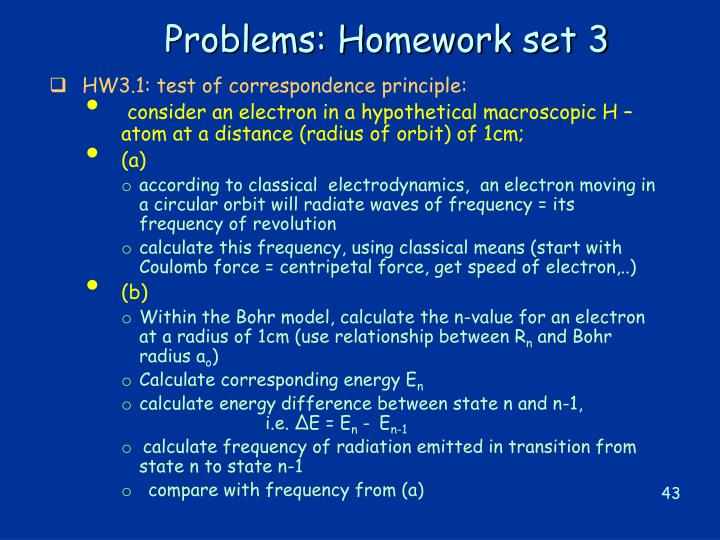 Problems: Homework set 3