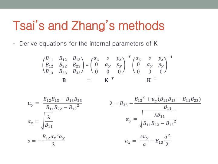 Tsai's and Zhang's