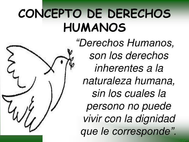 """""""Derechos Humanos, son los derechos inherentes a la naturaleza humana, sin los cuales la persono no puede vivir con la dignidad que le corresponde""""."""