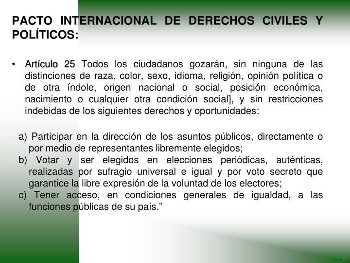 PACTO INTERNACIONAL DE DERECHOS CIVILES Y POLÍTICOS: