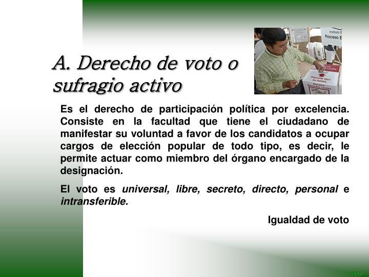 A. Derecho de voto o sufragio activo