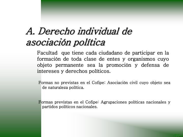 A. Derecho individual de asociación política