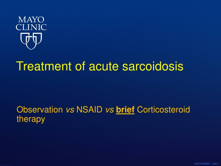 Treatment of acute sarcoidosis