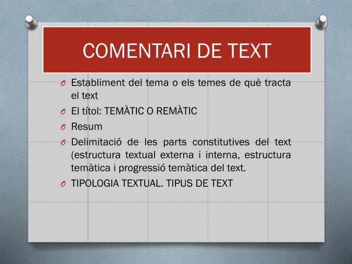 COMENTARI DE TEXT