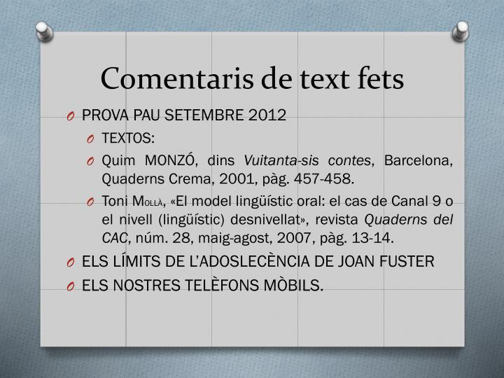 Comentaris de text fets