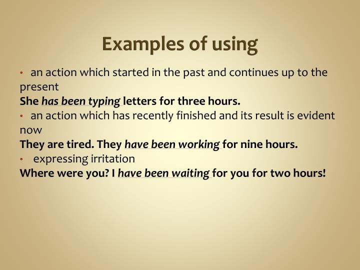 Examples of using