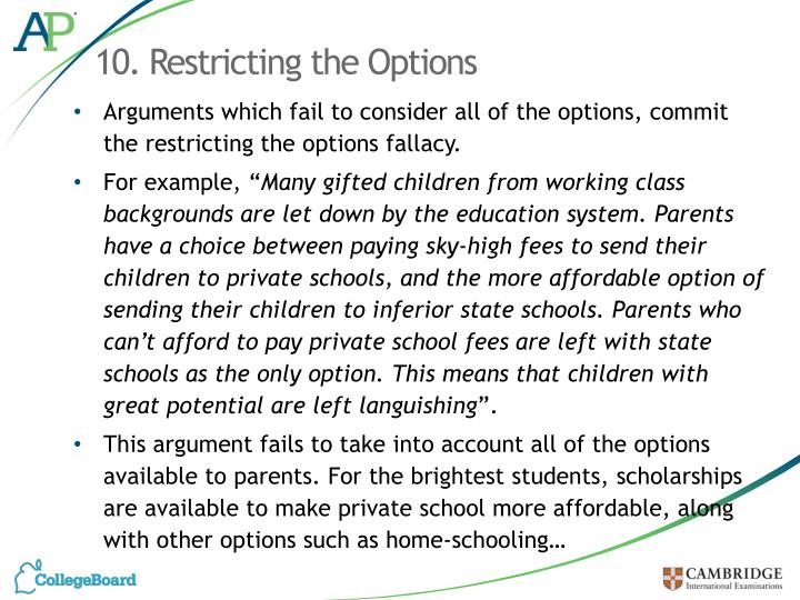 10. Restricting the Options