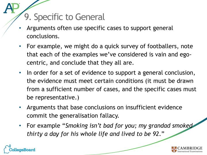 9. Specific to General
