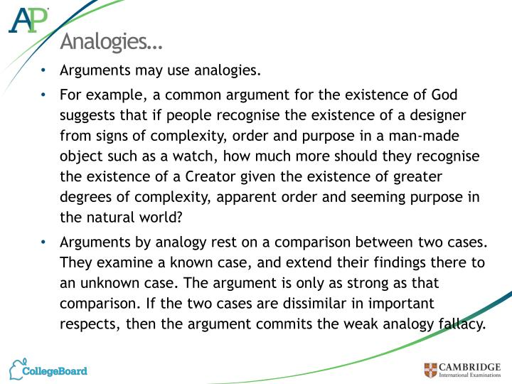 Analogies…