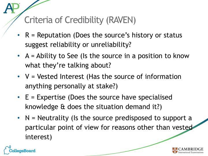 Criteria of Credibility (RAVEN)