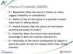 criteria of credibility raven