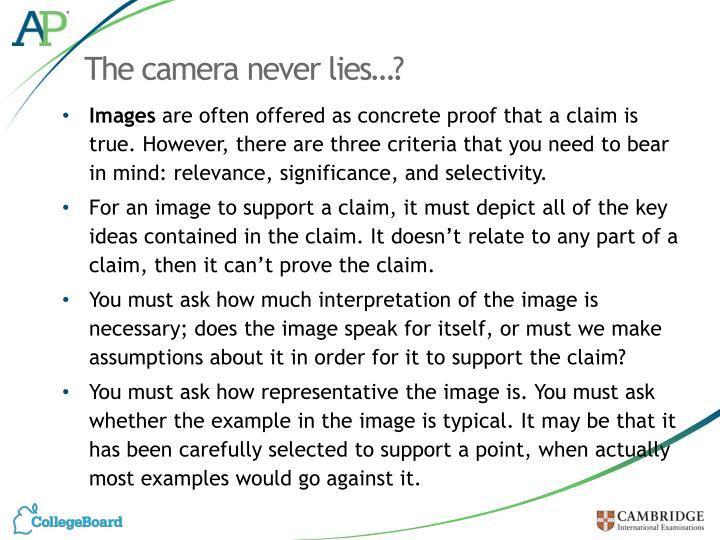 The camera never lies…?