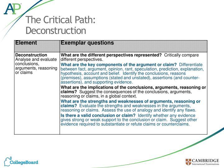 The Critical Path: