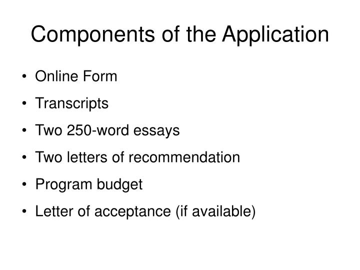 Components of the Application