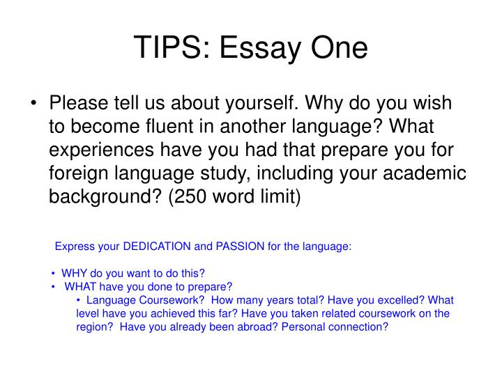 TIPS: Essay One