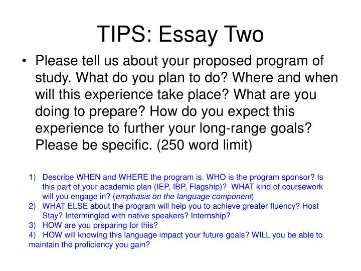 TIPS: Essay Two