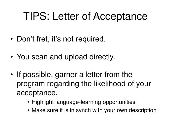 TIPS: Letter of Acceptance