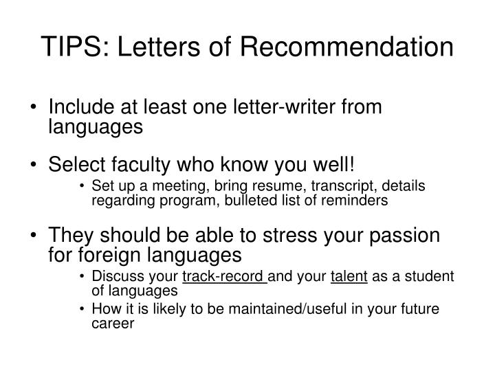 TIPS: Letters of Recommendation