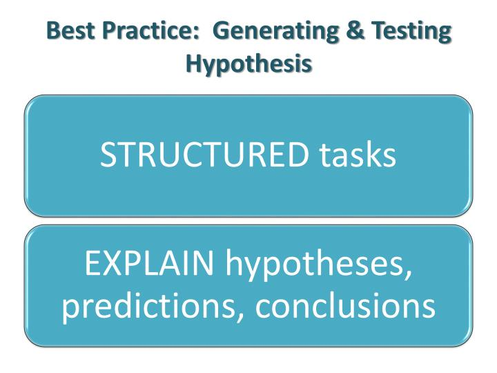 Best Practice:  Generating & Testing Hypothesis