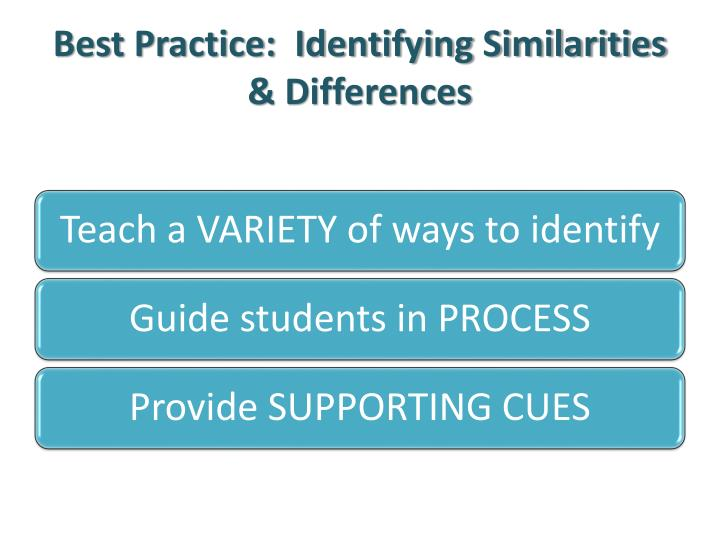 Best Practice:  Identifying Similarities & Differences