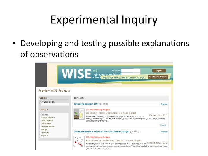 Experimental Inquiry