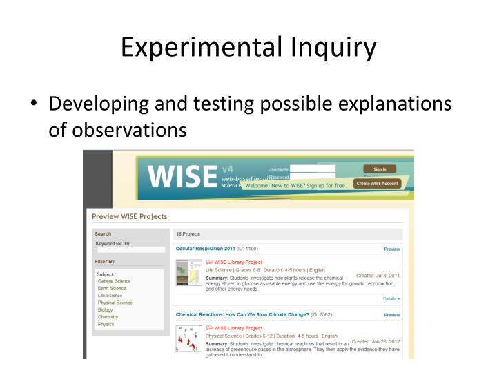 Experimental Inquiry