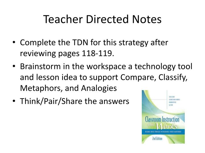 Teacher Directed Notes