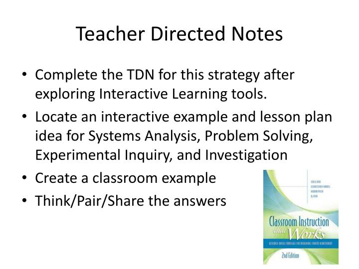 Teacher Directed Notes