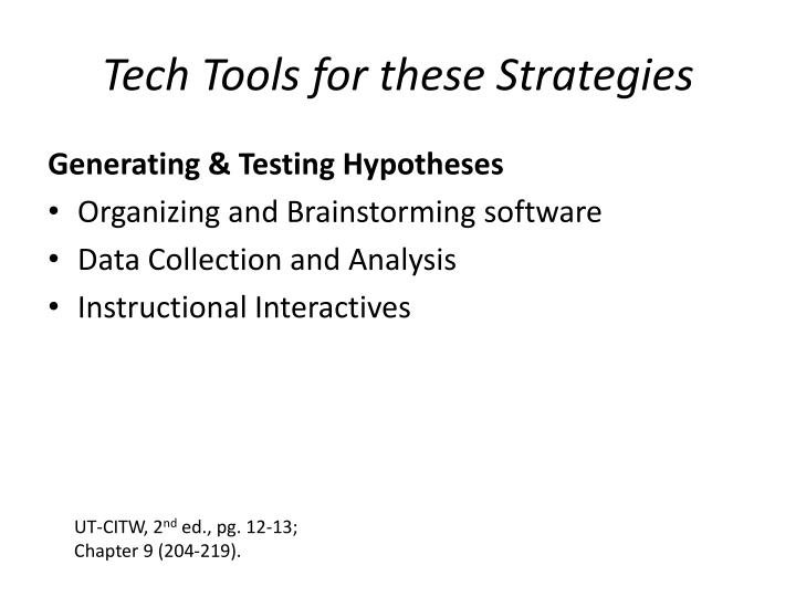 Tech Tools for these Strategies
