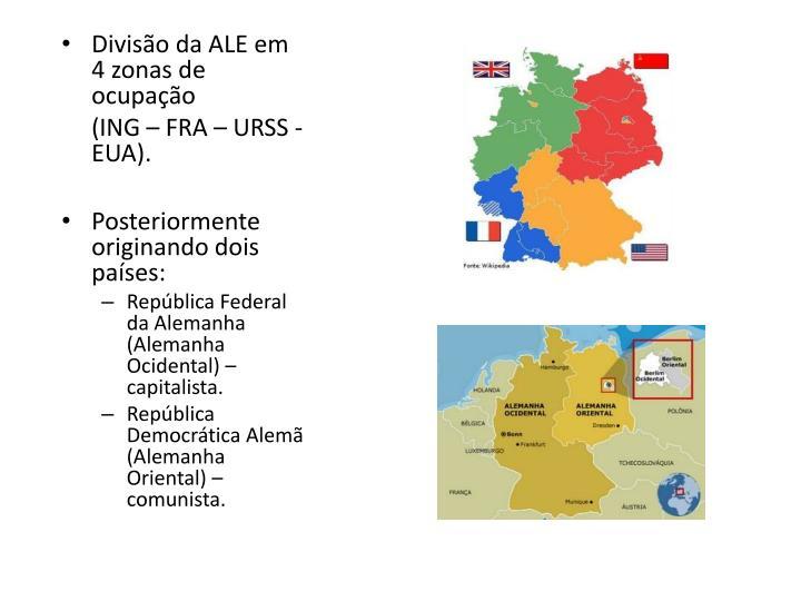 Divisão da ALE em 4 zonas de ocupação