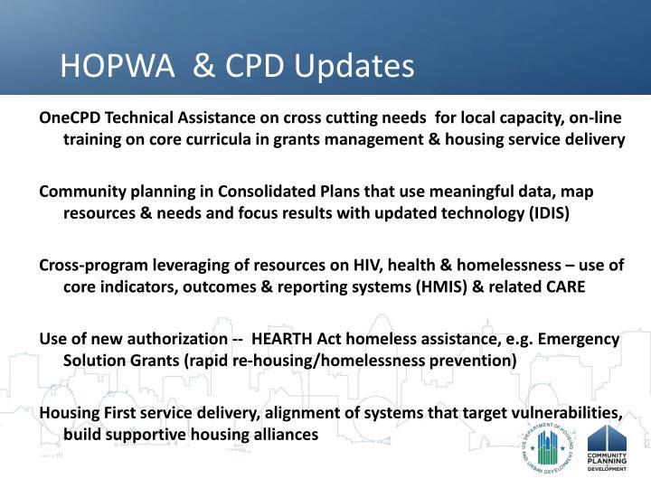 HOPWA  & CPD Updates