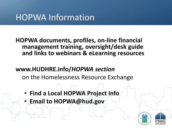 HOPWA Information