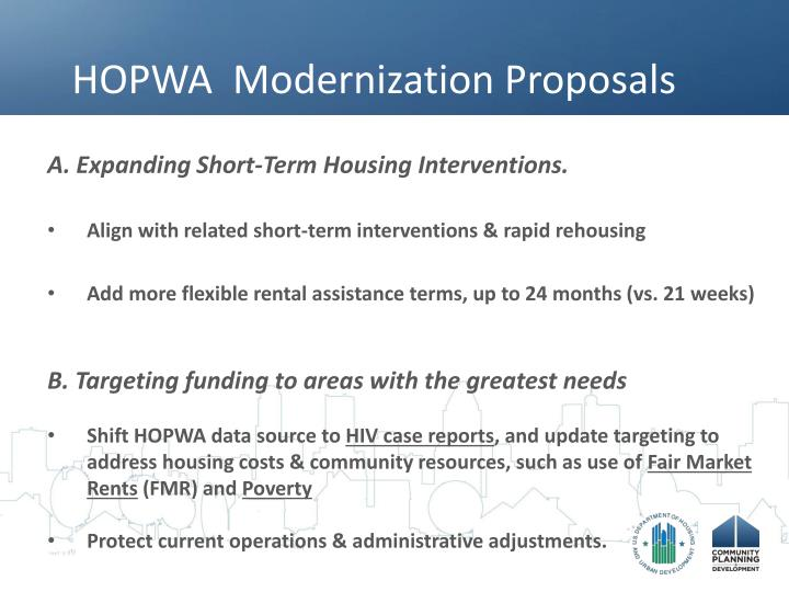 HOPWA  Modernization Proposals