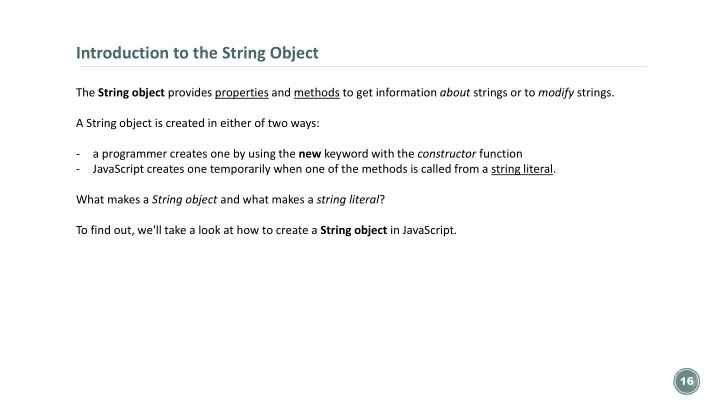 Introduction to the String Object