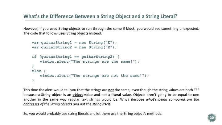 What's the Difference Between a String Object and a String Literal?
