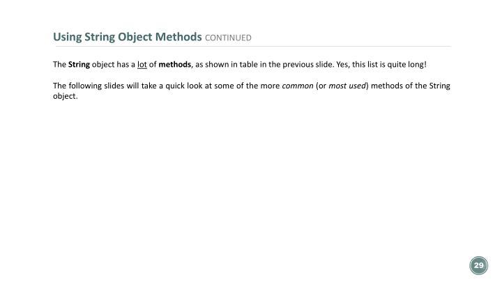 Using String Object Methods