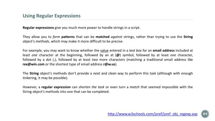 Using Regular Expressions