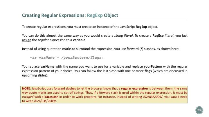 Creating Regular Expressions: