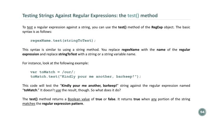 Testing Strings Against Regular Expressions: the