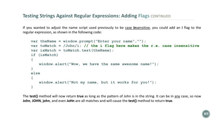 Testing Strings Against Regular Expressions: Adding