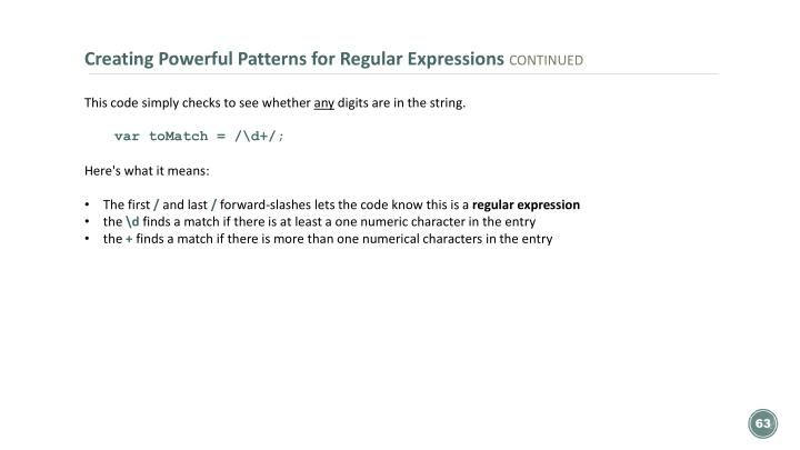 Creating Powerful Patterns for Regular Expressions