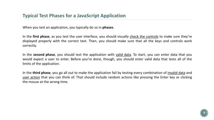 Typical Test Phases for a JavaScript Application
