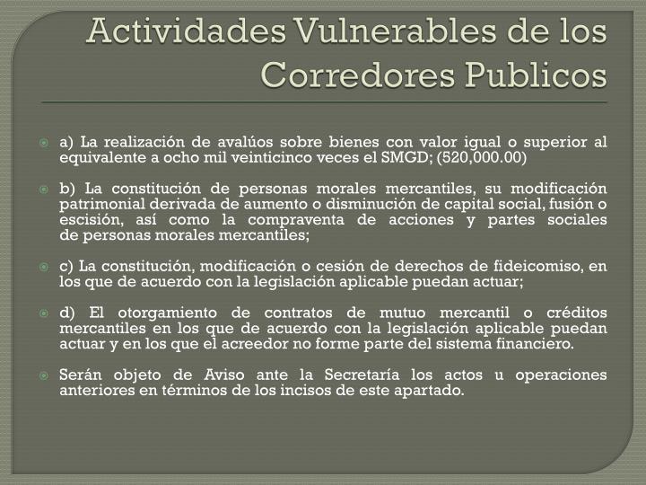 Actividades Vulnerables de los Corredores