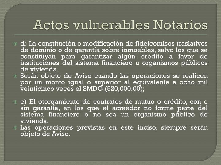 Actos vulnerables Notarios