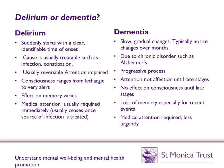 Delirium or dementia?