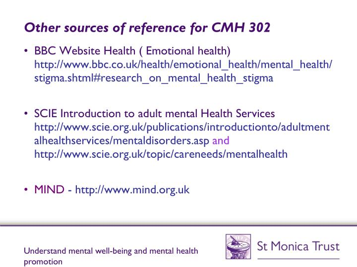 Other sources of reference for CMH 302