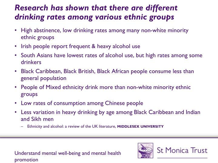 Research has shown that there are different drinking rates among various ethnic groups